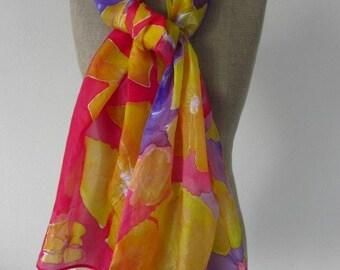 Handpainted silk scarf/shawl