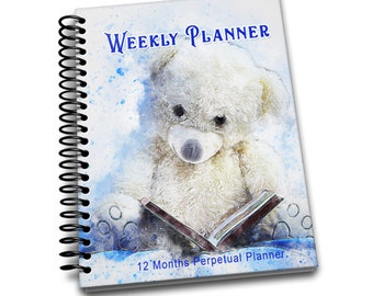 Bear Weekly Planner: 12 Month Perpetual Planner | Undated Weekly Planner | 2 pages per week | Contacts | Passwords | Notes | Bear