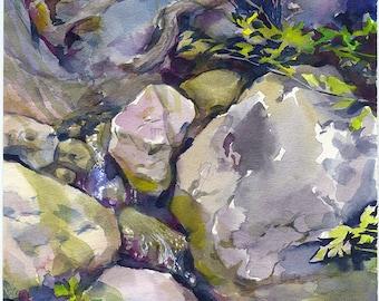 Rocks watercolor painting - rock painting, stones watercolor painting, rocks print