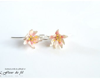 Handmade Earrings, Flower Earrings, Silver Earrings, Small Earrings, Resin Earring, Stained painted earrings