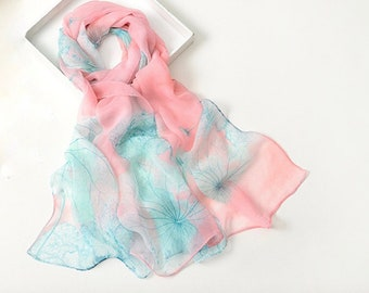 Light pink and aqua color scarf, light weight scarf for spring and summer,