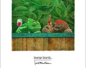 Will Bullas / art print / lounge lizards... / humor / animals / lizards