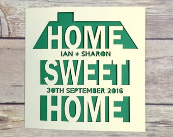 Personalised New Home Card, Moving Home Card, Home Sweet Home, Papercut Card, 1st Home, Congratulations, Housewarming Gift, Custom Card