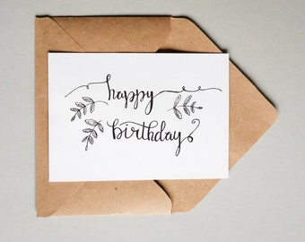 Happy Birthday // Downloadable and Printable // Digital // Hand Lettered // Greeting Card