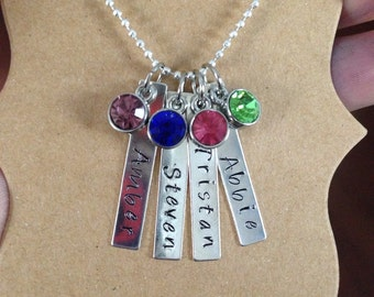 Mothers 4 bar Hand Stamped Name necklace with Matching Birthstone Dangles Parent or Grandparent Jewelry