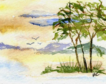 Original Watercolor ACEO Art Card, Summer, Mountains, Birds, Country Evening, Quiet, OOAK Painting