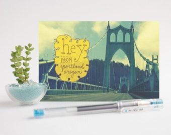 Hey From Portland / St. Johns Bridge - Set of 3 Postcards
