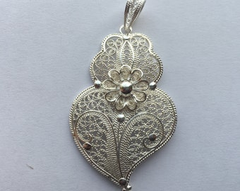 Silver Portuguese Filigree Heart Necklace.Icon of independence!