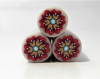 Polymer Clay Flower Cane, Reds, Orange & Browns, Raw, Unbaked, Millefiori