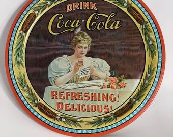 Coke Wall Sign 1970s; Coca Cola Wall Sign; Coke Decor; Metal Coke Sign; Collectible Coke Memorabilia; Vintage Coke Sign