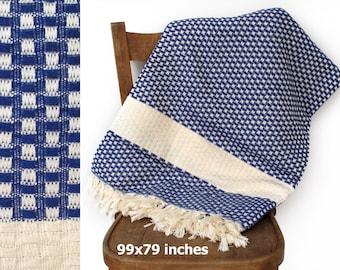 """Sommer-Decke werfen Decke Tagesdecke türkische Tagesdecke Sofa Throw handgewebte Baumwolle werfen Picknick Decke dunkelblau XL 99 """"x 79"""""""