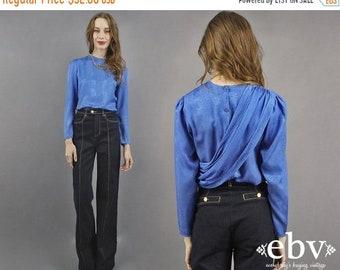 Chemisier bleu drapé Secrétaire chemisier Blouse manches longues Blouse Vintage des années 80 chemisier des années 1980 chemisier bleu Cobalt chemise chemise Poly Blouse de travail S