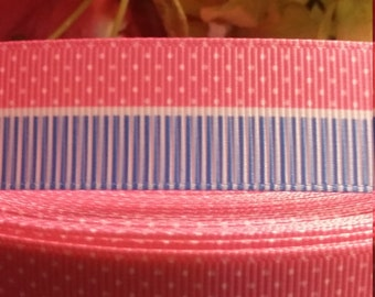 3 yards, 1' grosgrain ribbon pink and blue with white lines and polka dots