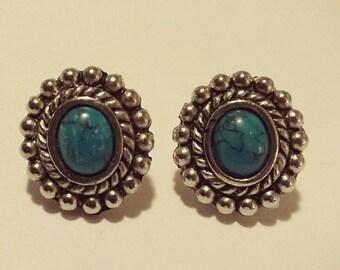 Turquoise Southwest Flower Silver Pierced Earrings