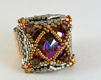 Handmade Beaded Statement or Cocktail Ring Swarovski Crystals Womens Birthday or Anniversary Gifts OOAK Gift for Her