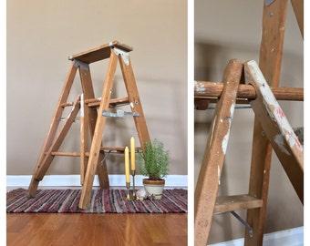 """34"""" Tall Vintage Wood Step Ladder /Wood Ladder / Decorative Ladder /Vintage Stepstool /Vintage Plant Stand / Wooden Ladder / Antique Ladder"""