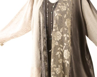 Mother of the Bride Dress Plus Size Champagne Taupe French Roses Mesh Jacket Special Occasion Custom Dress 22/24