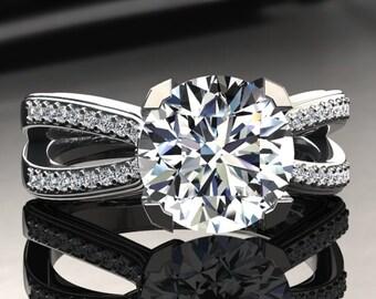 Forever One Moissanite Ring 1.00 Carat Moissanite And Diamond Engagement Ring 14k or 18k White Gold SW7MOISW
