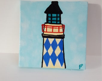 Lighthouse Painting, mini art, art, blue sky, lighthouse, 3x3, nautical, small, gift, gift under 25, ooak, original, tiny painting, little