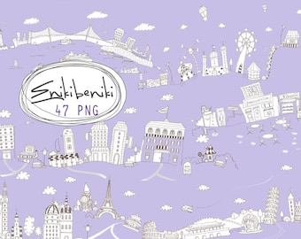 Doodle Skylines Clipart - Digital Clipart - PNG File - Personal and Commercial Use