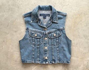 stone wash vintage denim vest | 90s jean vest with pockets | blue jean button up vest | 1211106