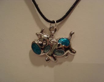Blue cow pendant