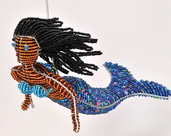 Glass Beaded Mermaid Figurine - Available in 5 color schemes - Wireworx Collectible Mermaids