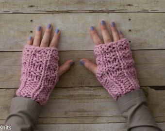 Soft Wool Chunky Knit Fingerless Gloves Hand Warmers Texting Gloves - Pink - Ready to Ship