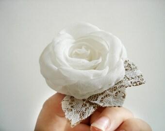 Off White Ivory Rose Wedding Hair Accessory, Rustic Hair Clip, Wedding Hair Piece, Burlap Lace Hairpiece Bridal Hair Flower