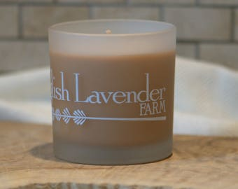 Lavender & Cinnamon Essential Oil Soy Wax Candle in Frosted Glass
