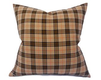 Plaid Pillow Cover, Tan Black Pillow, Country Pillows, Tan Throw Pillow, Rustic Fall Pillows, Winter Cushion, 12x18 Lumbar, 20x20