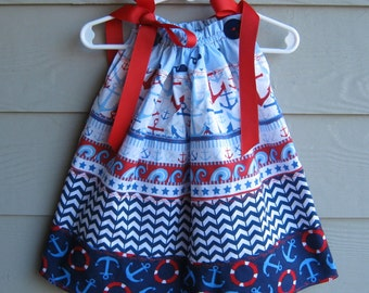 Child's Red, White and Blue Tiered Print Pillowcase Dress - 18 to 24 month - Tiered, pillowcase dress, infant dress, infant pillowcase