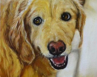 """Golden Retriever, Labrador, Retriever, custom dog Painting, custom pet portrait, Dog art, Commission, personalized  art, pet memorial, 8x10"""""""