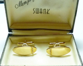Vintage Swank CuffLinks Gold Toned With Original Box For the Groom 1960s