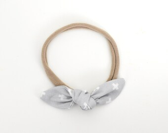 Grey Bow, Bow Headband, Bow Clip, Girls Hair Accessories, Toddler Headband, Pastel Baby Bow