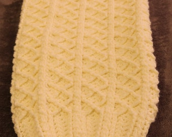 Crocheted antique white newborn baby cocoon with matching hat
