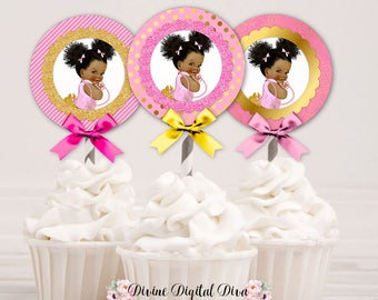 Cupcake Topper Pink & Gold Circles | African American Afro Puffs Vintage Baby Girl | Digital Instant Download