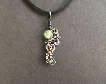 Prehnite Copper Wrapped Pendant Necklace