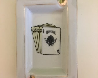 Vintage Card Ashtray with Gold Leaf