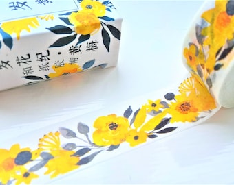Chinese flower washi tape, plum tree flower, yellow flower washi, floral washi, washi tape, japanese tape, planner stickers