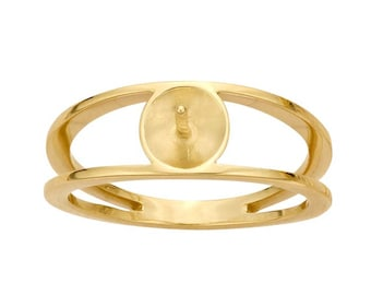 14K Yellow Gold Open Shank Pearl Ring Mounting