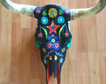 Mixed Media Painted Cow Skull