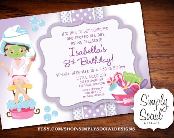 Kid's Spa Birthday Party Invitation Manicure Pedicure Purple Printable