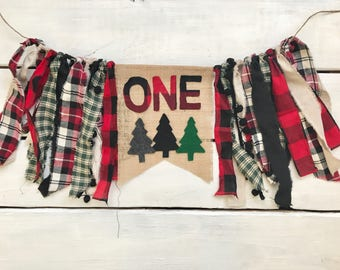 Red buffalo plaid lumberjack highchair banner