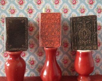 Three 1:12 Scale Dollhouse Miniature Vintage Style Books