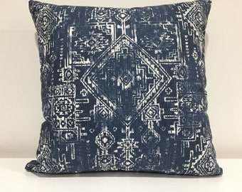 Tribal print pillow cover, Decorative pillow cover, tribal, pillow cover, invisible zipper, Handmade in USA, blue, tribal, 18x18, Home Decor