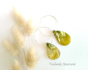 Green Seashell Hoop Earrings, Handmade