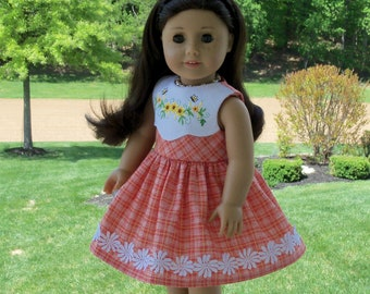 "Like American Girl Doll Clothes / Farmcookies Embroidered Dress for 18"" Dolls / 18 Inch Doll Clothes"