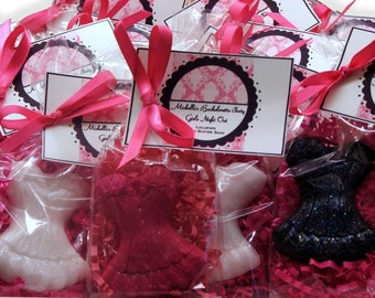 Set of 10 Bachelorette Party Corset Soap Bridal Shower Party Favors Includes Customized Tags