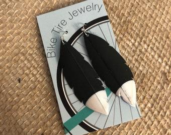 Pearl white dipped recycled bike tube earrings